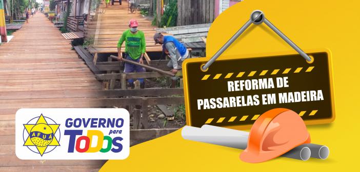 Prefeitura realiza a reforma de passarelas em madeira